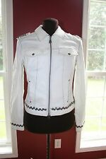 SPANNER women's size 4 white jacket with button embellishments