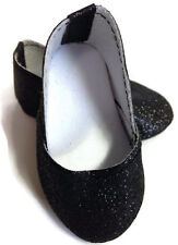 Black Sparkle Princess Shoes for 18 inch American Girl Doll Clothes