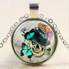 Vintage Skull butterfly Cabochon Tibetan silver Glass Chain Pendant Necklace #24