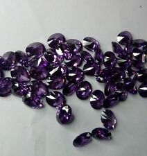 Lot of 2 stones 9 x 7mm Amethyst Cubic Zirconia Oval Cut Loose Gemstone AAAAA