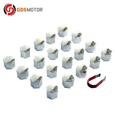 20pcs 19mm Silver Plastic Wheel Lug Nut Bolt Hex Cap Cover with Removal Tool