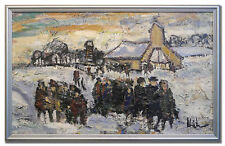KAI CHRISTENSEN / CHURCHGOERS - Original Swedish Art Oil Painting