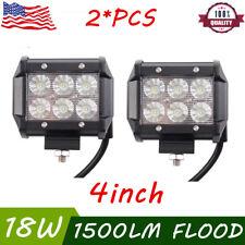 2x 4INCH 18W CREE LED Work Light Bar Flood Offroad Fog Lamp 4WD SUV Pickup ATV