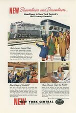 1947 New York Central Railway Ad New Streamliner & Dreamliner Coaches Railroad