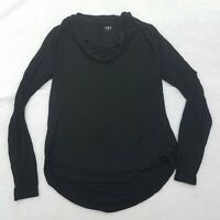 Three Dots Women's Top Black Cowl Neck Long Sleeve Blouse Tee Size M Draped