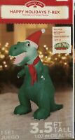 Airblown Inflatable 3.5 Ft Tall T-Rex Wearing A Scarf Dinosaur Christmas Gemmy