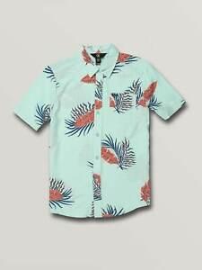 VOLCOM Kids Boys Bermuda Short Sleeve Shirt - Hawaiian Surf Summer Beach