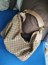 AUTHENTIC GUCCI LARGE JOCKEY HOBO BROWN GG SHOULDER HANDBAG TOTE LEATHER TRIM
