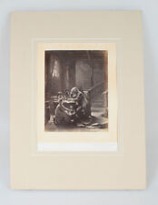 ALBUMEN PHOTO OF PAINTING OF BUILDER   HIS YOUNG APPRENTICE - BY D.R. KNIGHT