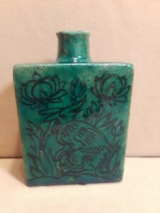 Antique Persian Pottery Flask Hand Painted Bird / Animal / Floral Motif