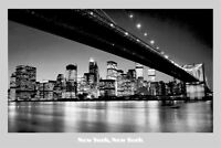 "NEW YORK CITY /""BROOKLYN BRIDGE AT NIGHT /"" Poster 40/"" X60/"" Subway Poster NEW"