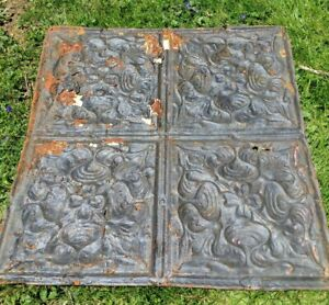 "Antique 24 "" x 24 ""  Salvaged  Victorian Metal Tin Ceiling Tile  Black Paint"