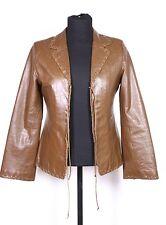T24-3 H&M Damen Lederjacke Blazer Leder braun Gr. 38 Ethno Gipsy weite Ärmel