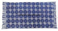 100% COTTON RUG DIAMOND WEAVE INDIGO BLUE / WHITE 90x150cm 3'x5' Quayside Throw