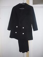 Ladies Black pin stripe suit, bugsy fancy dress theatre small size