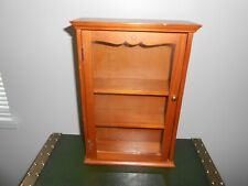 VTG WOODEN GLASS FRONT CURIO CABINET WALL HANGING DISPLAY CASE