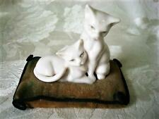Vintage White China Cats on Faded Velvet Pillow Pincushion