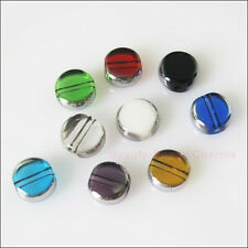 35 New Charms Silver Edge Glass Round Flat Spacer Beads Mixed 6mm