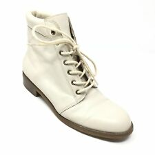 Women's VINTAGE Nine West Tomlin 2 Combat Boots Shoes Size 6M Ivory Leather Z1