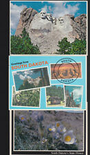 3- SD postcards The Pasqueflower/ Greetings from South Dakota/ Mt. Rushmore