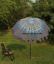 Indian Beach Garden Parasol Blue Mandala Outdoor Sun Shade Patio Party Umbrella