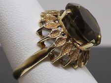 Vintage Large 8.4CT Smoky Quartz 14K Yellow Gold Cocktail Ring, 5.3g size 7