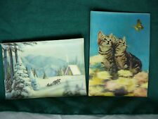 Two Vintage 3D Postcards Cats w Butterfly - Horse & Sleigh Winter Scene