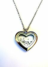Stainless Steel Floating Glass Heart Locket Charm Necklace Pendant