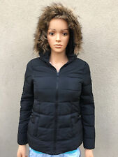 new ABERCROMBIE KIDS GIRL JACKET size LARGE authentic NAVY puffer hoodie fur
