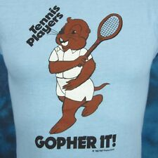 Nos vintage 80s Tennis Players Gopher It! Cartoon Buttery Soft T-Shirt Xxs thin