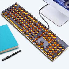 Metal K70 punk con retroiluminación LED de cubiertas de tecla teclado para juegos ergonómico con cable USB PC Laptop