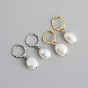 925 Sterling Silver Baroque Freshwater Pearl Huggie Hoop Earrings 12mm Gift A32