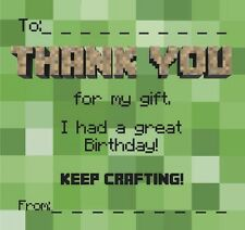 Thankyou Cards / Notes. Gift. Ideal For Minecraft Fans!