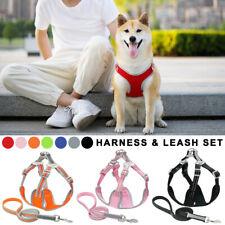 Adjustable Dog Harness Lead Set No Pull Soft Puppy Vest Cloth Leash Reflective
