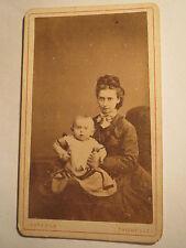 Thionville - Diedenhofen 1876 Frau mit Zopf & Baby - Portrait / CDV
