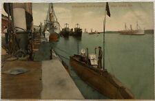 Vintage Postcard PNC Submarine Boat Campus Mare Island California Dock Sailor