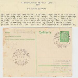 MARITIME 1938 DEUTSCHE SCHIFFSPOST HSDG M/S MONTE PASCOAL cd on postal card