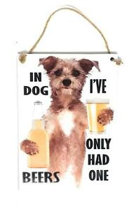 "In Dog Beers I've Only Had One, 5"" x 7"" Novelty Wood Sign for Bar, Game Room"