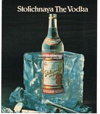 1983 STOLICHNAYA Vodka Frozen In Block Of Ice Vtg Print Ad Man Cave