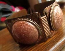 """Vtg 7"""" 3d Bubble Copper Goldstone Flake Glass Cab Bangle Deco Bracelet"""