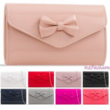 Bow Style Patent Wedding Ladies Party Prom Evening Clutch Hand Bag Purse HandBag