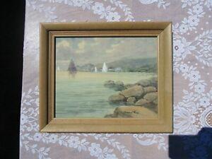 Framed Original HOWARD GRAY Seascape Watercolor Painting