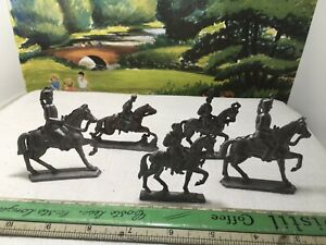 5 Vintage Flat Lead Solid Cast Continental Cavalry Toy Soldiers On Horses