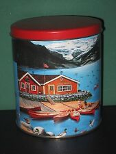"""Collectible Cannister Tin Canoes Camping Mallard Ducks Outdoorsman 6"""" H Vg"""