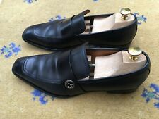 Gucci Mens Shoes Black Leather Loafers UK 8 US 9 EU 42 Interlocking GG 8.5 9.5 4