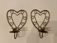 Vintage Home Interiors Heart Sconces Metal Candle Holders Set Of 2