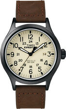 T49963 Timex Expedition Mens Watch Cream Dial Brown Leather Strap Quartz T49963J