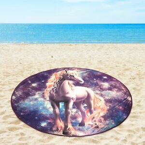 "Mainstays Unicorn Round Beach Towel 58"" Soft Swimming Pool Mat Picnic Gift Lake"