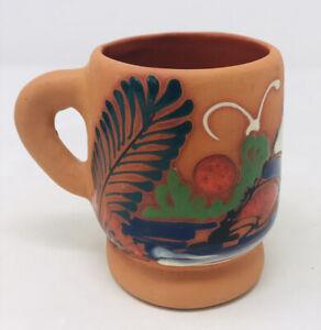 Pottery Terra Cotta Red Clay Small Mug Hand Painted Sail Boat Birds Punta Cana
