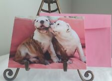 "New Old Stock AVANTI VALENTINES DAY CARD KISSING wrinkled Dogs ""I LOVE YOU"""